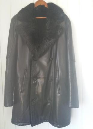 Кожаное брендовое мужское пальто
