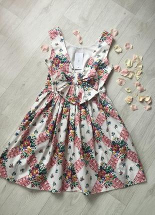 Очаровательное ретро платье с вырезом и бантом на спине, юбка держит форму, s-m