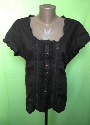 Коттоновая блуза с ришелье 52 р1 фото
