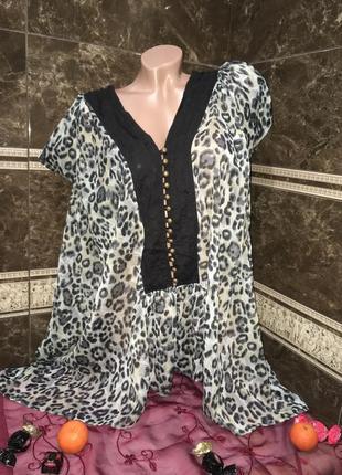 Легкая блуза оверсайз леопард 56 р