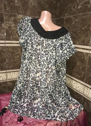 Легкая блуза оверсайз леопард 56 р3