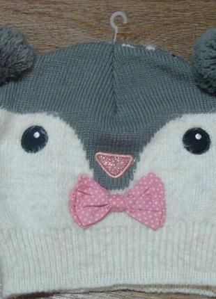 Красивая шапка мордочка с бубонами tu 11-12 лет