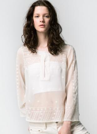 Белая блуза mango с вышивкой, s