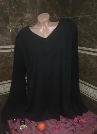Черная блуза рукава плиссе 60-62 р