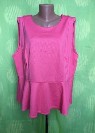 Розовая блуза топ с баской 56-58 р