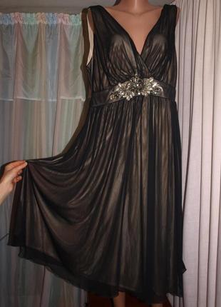Нарядное платье (2хл замеры) шифон на подкладе, отлично смотрится