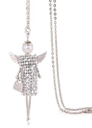 Модный крутой кулон кукла на цепочке крыло подвеска ожерелье ангел куколка девочка