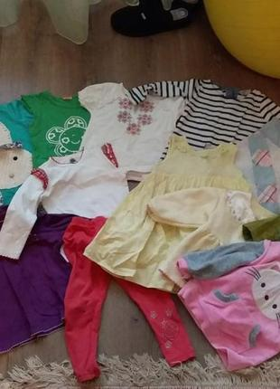 Пакет речей для дівчинки від 1 до 2.5 р. сарафан, лосини, кофтинки, футболки, демо куртка