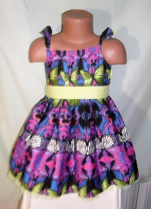 Платье в бабочки на 2-3годика