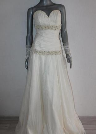 Шикарное свадебное платье с жемчужинками+перчатки скидка! 765грн.!!!