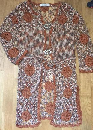 Вязанный кардиган накидка жилетка пиджак пальто