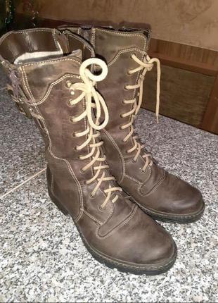 Утепленные кожаные подростковые высокие ботинки сапоги фирмы twins