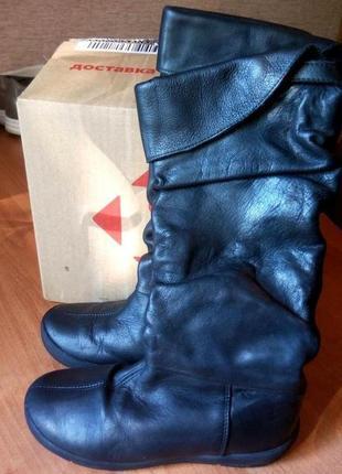 Высокие демисезонные кожаные сапожки на девочку бренд naturino
