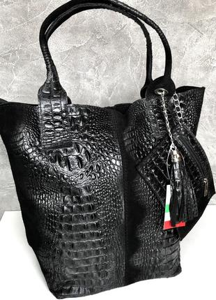 Кожаная сумка шоппер италия vera pelle
