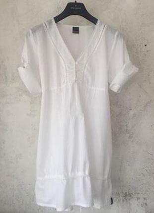 Невесомое белое платье-рубашка из органического хлопка, био-хлопок