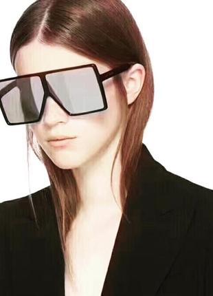 Очки маска ysl с чёрными и зеркальными стёклами3 фото
