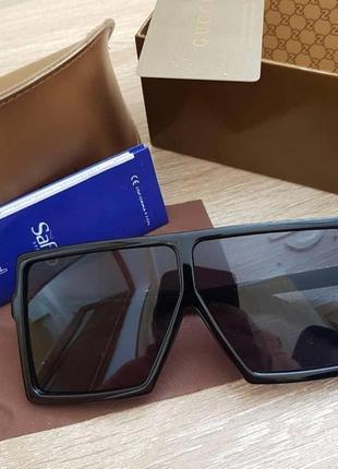 Очки маска ysl с чёрными и зеркальными стёклами5 фото