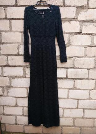 Шикарное гипюровое платье в пол со вставками