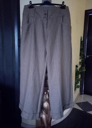 Льняные трендовые кюлоты,широкие брюки,юбка-брюки с золотой нитью