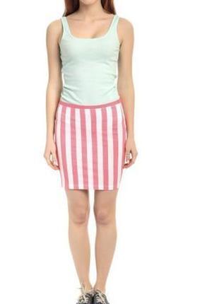 Юбка для женщин, розовая в белую полоску - terranova