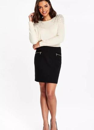 Чёрная трикотажная юбка wallis размер xl