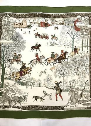 Женский шарф платок hermes  ledoux l' hiver green scarf