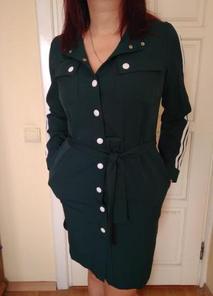 Платье рубашка спортивное зеленый
