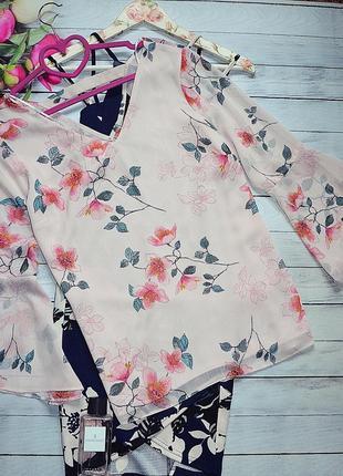 Шикарная нежная блуза в цветы с широкими рукавами