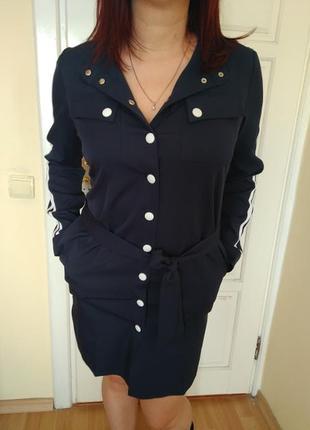 Платье рубашка спортивное синее
