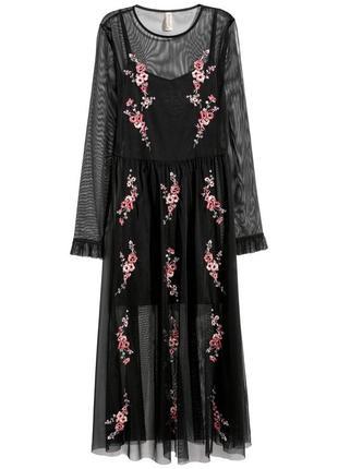 Трендовое сетчатое платье тюль в пол с цветочной  вышивкой от h&m