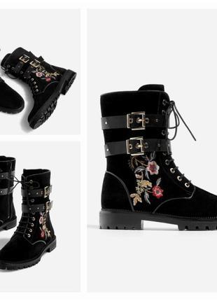 Классные ботинки замшевые с вышивкой