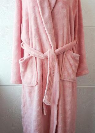 Халат махровый женский tu розового цвета на запах