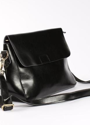 Кожаная черная сумочка, ручка+цепочка