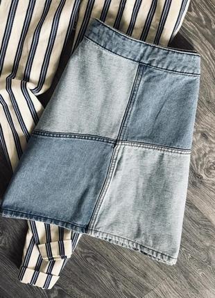 Комбинированная, джинсовая юбка