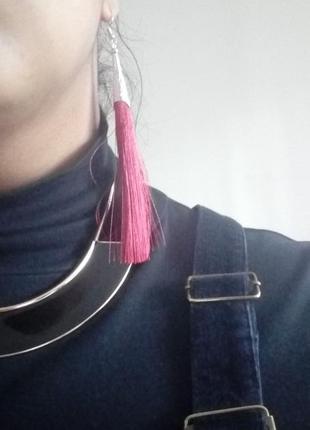 Длинные сережки кисточки