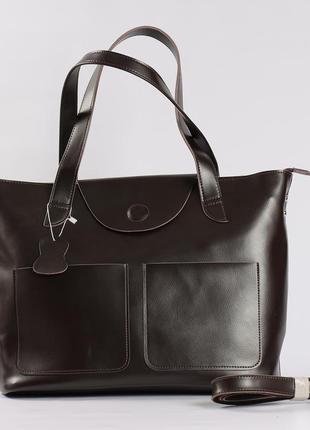 Большая кожаная сумка для документов, темно-коричневая