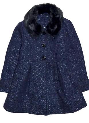 St. bernard  шикарное деми пальто тёмно синее с блеском серебра. 3-4 года