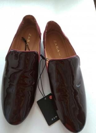 Стильные туфли лоферы лаковые