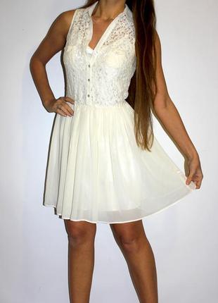 Шифоновое платье с кружевом - хлопок ( есть кармашки на груди )