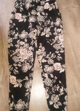 Лосины брюки цветочный принт с карманами