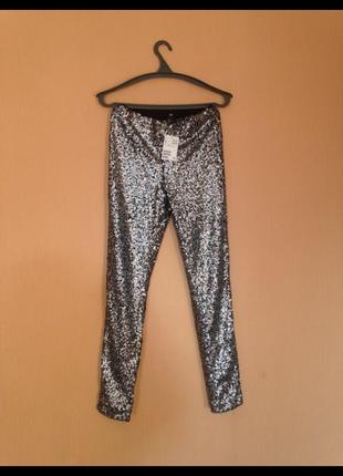 Суперские новые нарядные скинни  брюки с биркой, в пайетках,высокая посадка,талия,h&m