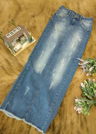 Стильна джинсова максі юбка на xs оригінал