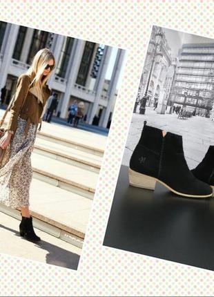 Ботинки из натуральной замши европейского бренда marc o'polo черные, р. 37, 39, 40