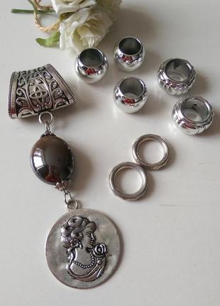 """Резерв!кольца-держатели для шарфа,платка""""камея"""",набор,8 шт,цена за набор"""