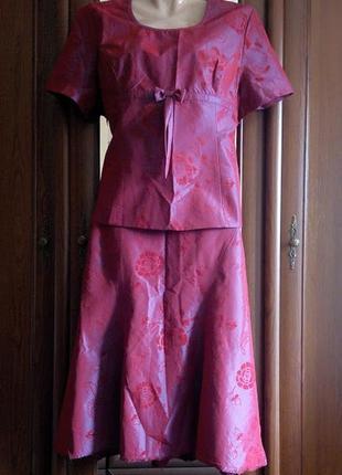 Костюм комплект нарядный юбка и блуза переливающийся