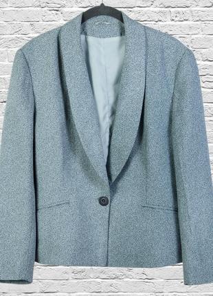 Бирюзовый пиджак свободный, ретро жакет оверсайз