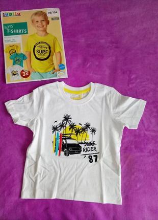 98/104 new. lupilu. хлопковая белая футболка на мальчика
