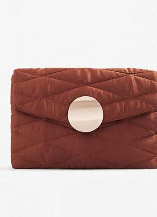 Клатч, сумка-конверт, сумочка вечерняя, атласная, сатиновая охра оранжевая оригинал mango
