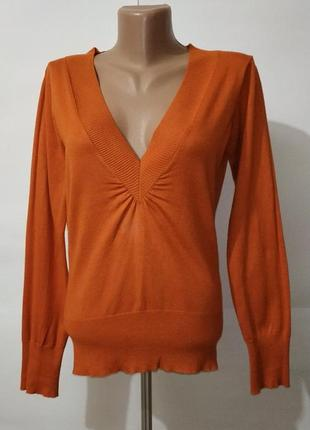 Оранжевый мягкий джемпер с v-образным вырезов f&f uk 12/40/\.m