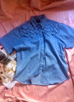 Классная джинсовая рубашка с декором  c&a/летняя распродажа 🍀🍀🍀